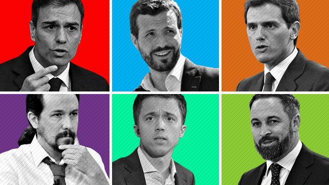 Pedro Sánchez, Pablo Casado, Albert Rivera (fenn), Pablo Iglesias, Inigi Errjón, Santiago Abascal (lenn)