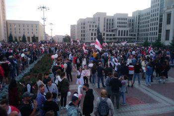 minszk, tüntetés, augusztus 14